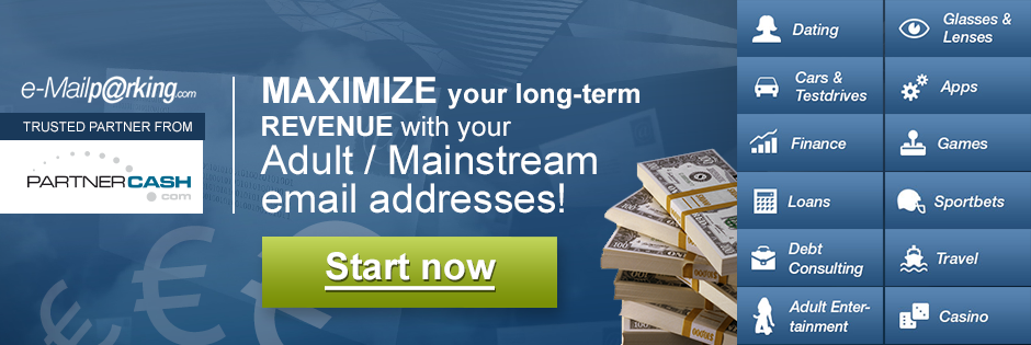 Monetise your mainstream/non-adult email addresses with E-mailparking.com